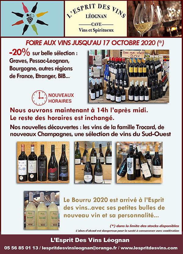 Nouvelles et actualités de l'esprit des vins Léognan foire aux vins octobre 2020