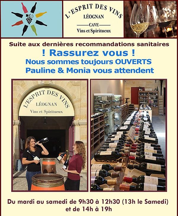 Nouvelles et actualités de l'esprit des vins Léognan on est ouvert
