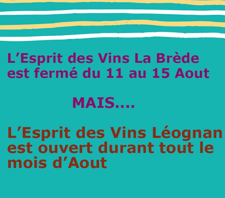 News de l'esprit des vins La Brède réouverture aout 2020
